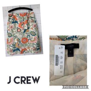 J Crew Tie Waist Skirt In Ornate Floral Sz 10 NWT